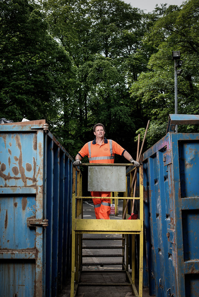 Chris Alchin photographed at Ranmore Road refuse site